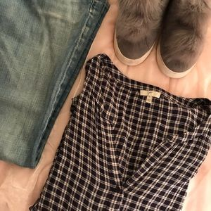 Tops - Joie Navy Plaid Popover Blouse